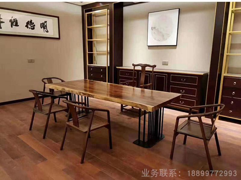 天然胡桃木大板桌